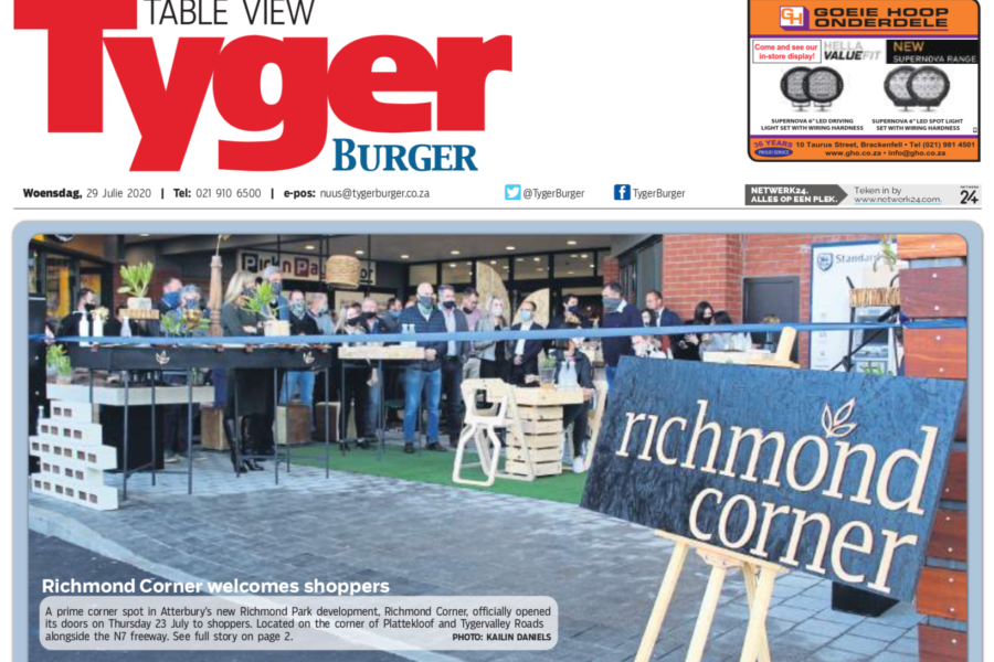 Richmond Corner makes the Front Page of the Tyger Burger